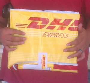 DHL package with the visa inside!